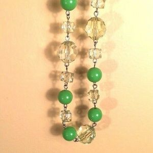 unbranded Jewelry - Beaded Necklace Green Balls And Crystals